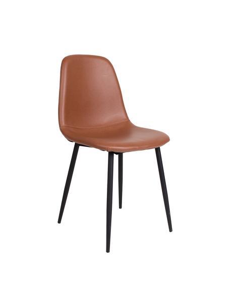 Krzesło tapicerowane ze sztucznej skóry Stockholm, Tapicerka: sztuczna skóra Dzięki tka, Nogi: metal lakierowany, Brązowy, S 50 x G 47 cm