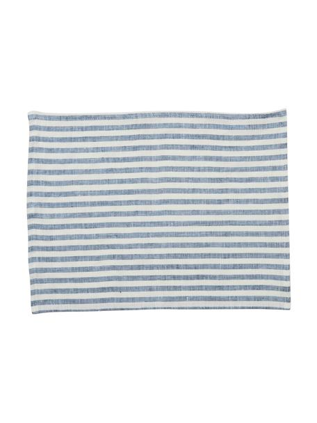 Linnen placemats Solami, 2 stuks, Linnen, Lichtblauw, wit, 35 x 45 cm