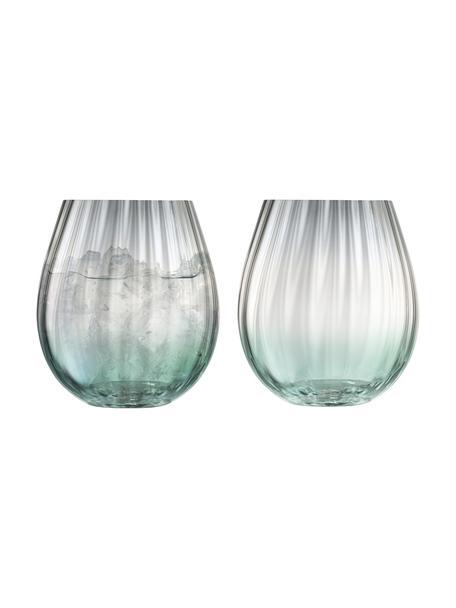 Handgemachte Wassergläser Dusk mit Farbverlauf, 2er-Set, Glas, Grün, Grau, Ø 9 x H 10 cm