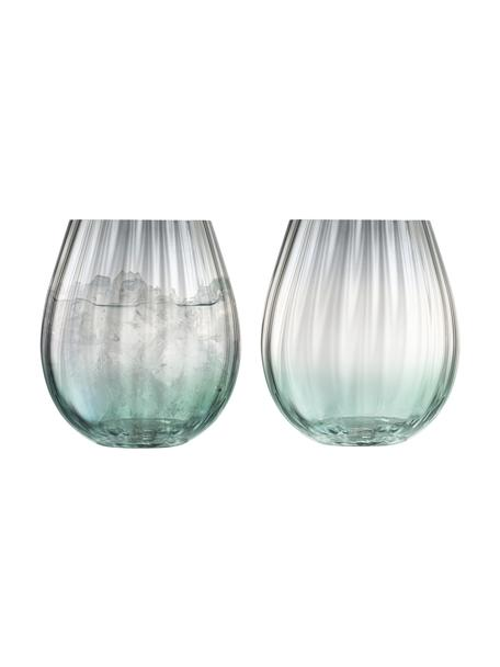 Vasos artesanales Dusk, 2uds., Vidrio, Verde, gris, Ø 9 x Al 10 cm