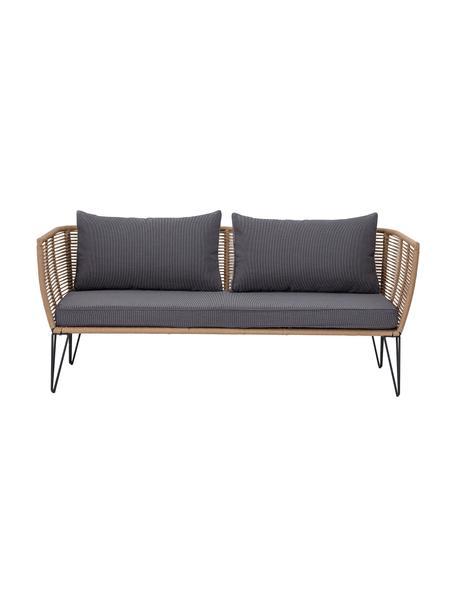 Sofá de exterior Mundo (2plazas), Estructura: metal recubierto en polvo, Asiento: polietileno, Tapizado: poliéster, Marrón, An 175 x F 74 cm
