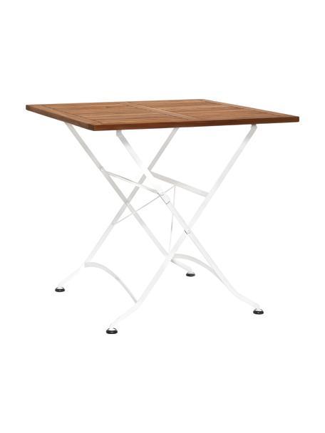Klappbarer Gartentisch Parklife mit Holzplatte, Tischplatte: Akazienholz, geölt,, Gestell: Metall, verzinkt, pulverb, Weiss, Akazienholz, 80 x 75 cm