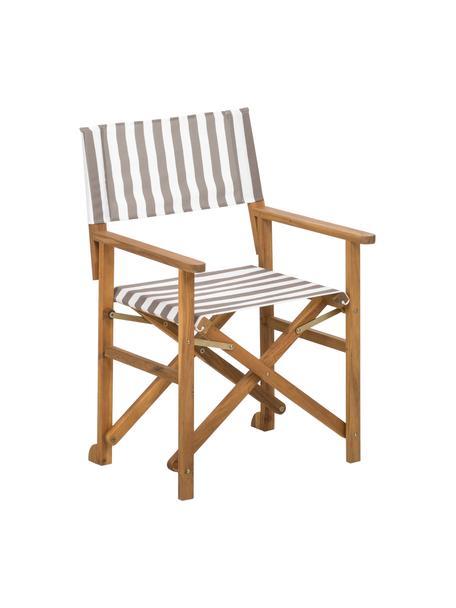 Silla plegable Zoe, Estructura: madera de acacia, aceitad, Beige, blanco, An 52 x F 58 cm