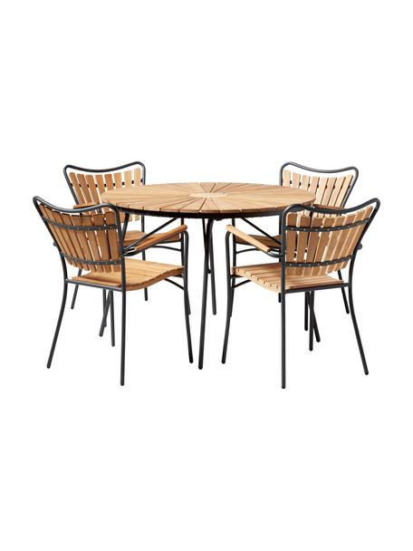 Komplet ogrodowy z drewna i metalu Ellen, 5 elem., Drewno tekowe, olejowane Aluminium malowane proszkowo, Antracytowy, drewno tekowe, Komplet z różnymi rozmiarami