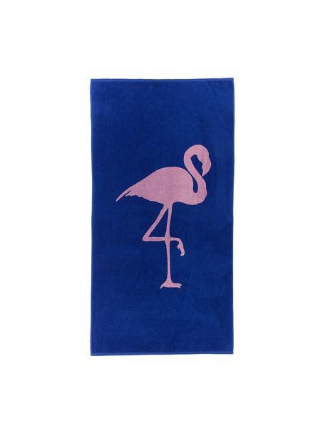 Strandtuch Mina mit Flamingo-Motiv, 100% Baumwolle leichte Qualität 380 g/m², Blau, Pink, 80 x 160 cm