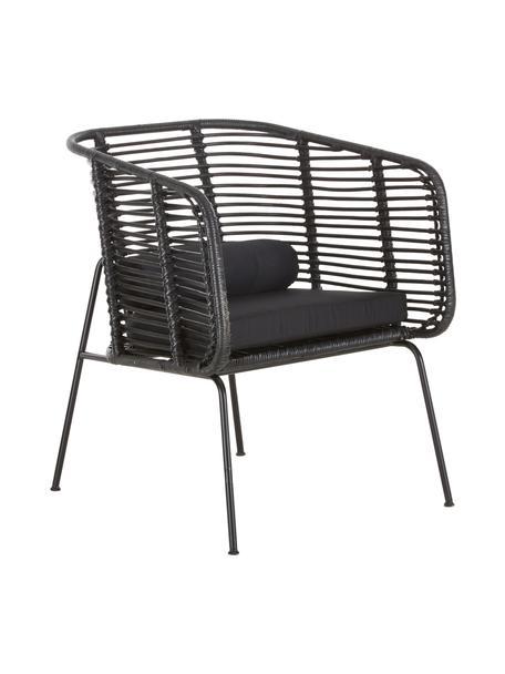 Rotan loungestoel Merete, Zitvlak: rotan, Frame: gepoedercoat metaal, Zitvlak: zwart. Frame: mat zwart. Kussenhoezen: zwart, B 72 x D 74 cm