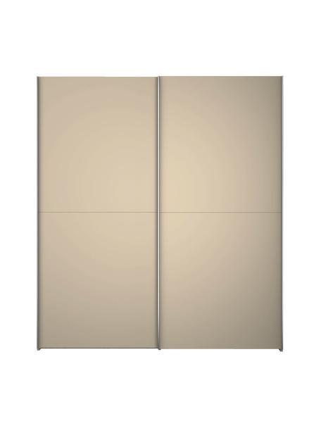 Beige kledingkast Oliver met schuifdeuren, Frame: panelen op houtbasis, gel, Beige, 202 x 225 cm