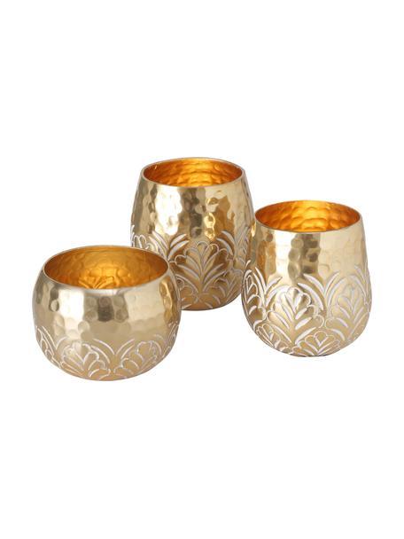 Waxinelichthoudersset Layra, 3-delig, Gecoat aluminium, Goudkleurig, Set met verschillende formaten