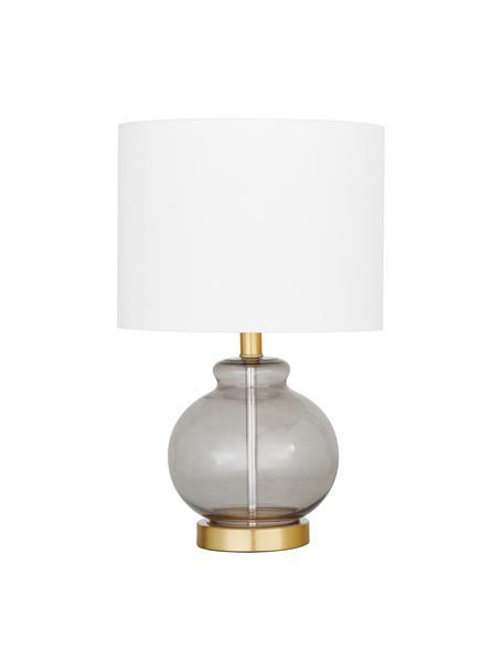 Tischlampe Natty mit Glasfuß, Lampenschirm: Textil, Lampenfuß: Glas, Sockel: Messing, gebürstet, Weiß, Blaugrau, transparent, Ø 31 x H 48 cm