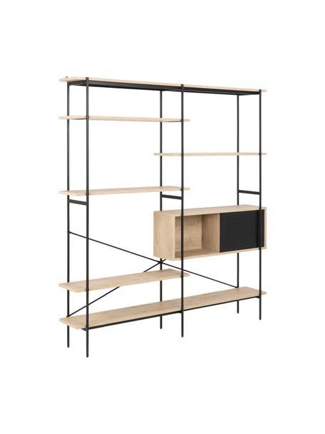 Libreria Angus, Struttura: metallo verniciato a polv, Ripiani: pannello di fibra a media, Marrone, nero, Larg. 37 x Alt. 180 cm
