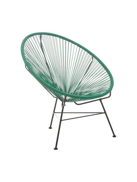 Fotel wypoczynkowy ze splotu z tworzywa sztucznego Bahia, Stelaż: metal malowany proszkowo, Zielony, S 81 x G 73 cm