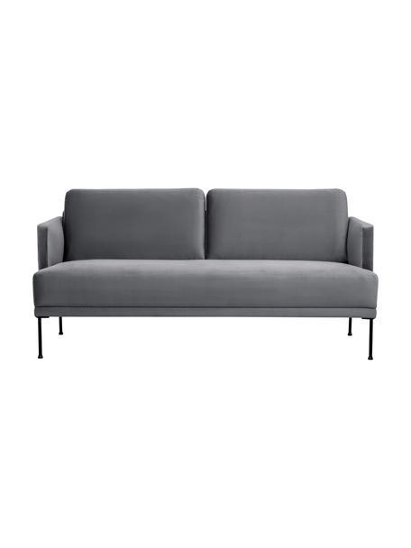 Sofa z aksamitu z metalowymi nogami Fluente (2-osobowa), Tapicerka: aksamit (wysokiej jakości, Nogi: metal malowany proszkowo, Aksamitny szarobrązowy, S 166 x G 85 cm