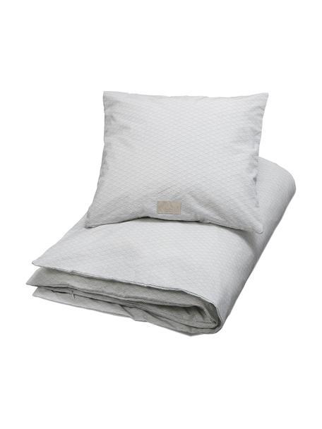 Baumwollsatin-Bettwäsche Wave, Baumwollsatin, Grau, Weiß, 100 x 135 cm