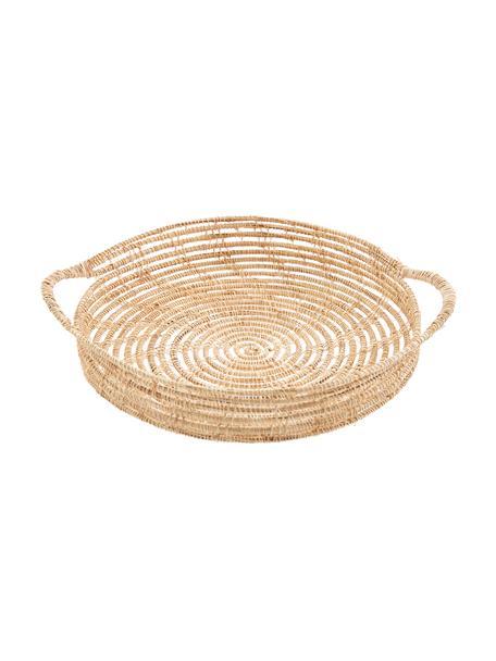 Bandeja redonda de fibras naturales Emila, Fibras de palma, Beige, Ø 30 cm