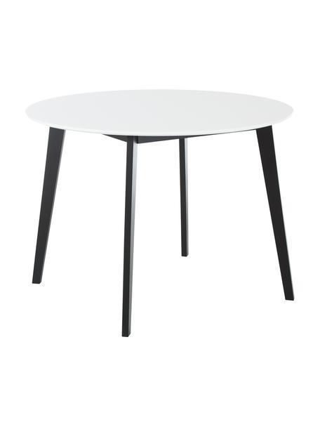 Ronde eettafel Vojens, Tafelblad: MDF, Poten: rubberhout, Wit, zwart, Ø 105 x H 75 cm
