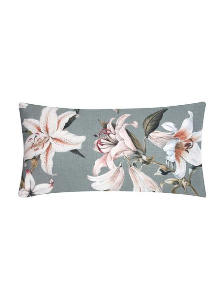 Baumwollsatin-Kissenbezüge Flori in Grau mit Blumen-Print, 2 Stück, Webart: Satin Fadendichte 210 TC,, Vorderseite: Blau, Cremeweiß Rückseite: Blau, 40 x 80 cm