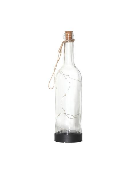 Solar Außentischlampe Bottle, Flasche: Glas, Henkel: Jute, Transparent, Ø 8 x H 31 cm