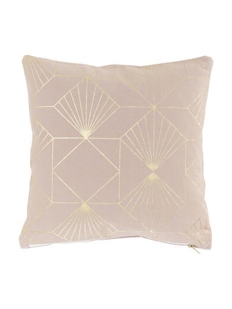 Kissen Scandi mit goldenem Muster, mit Inlett, Bezug: 100% Baumwolle, Puderrosa, Goldfarben, 40 x 40 cm