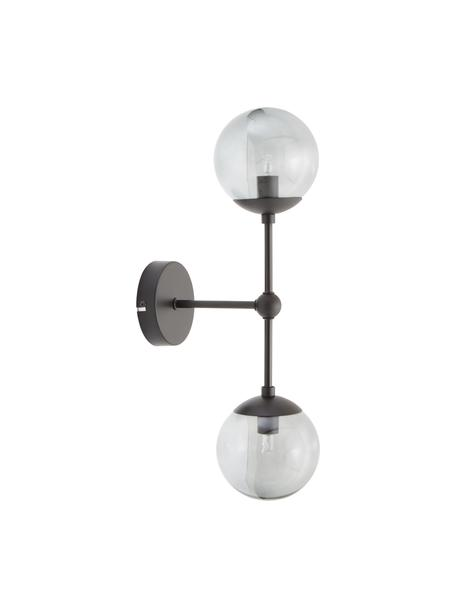 Wandlamp Beth van glas, Frame: gepoedercoat metaal, Grijs, zwart, Ø 12 x H 45 cm