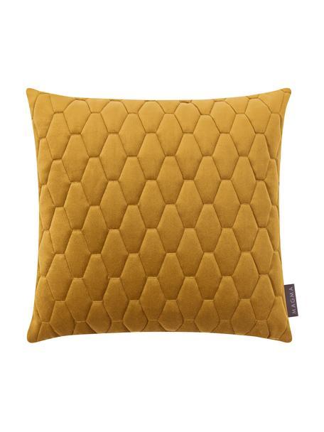Fluwelen kussenhoes Magali in mosterdgeel, 100% polyester fluweel, Mosterdgeel, 40 x 40 cm