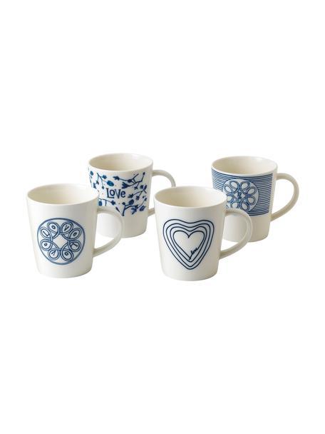 Gemusterte Tassen Love in Weiß/Blau, 4er-Set, Porzellan, Elfenbein, Kobaltblau, Ø 10 x H 11 cm