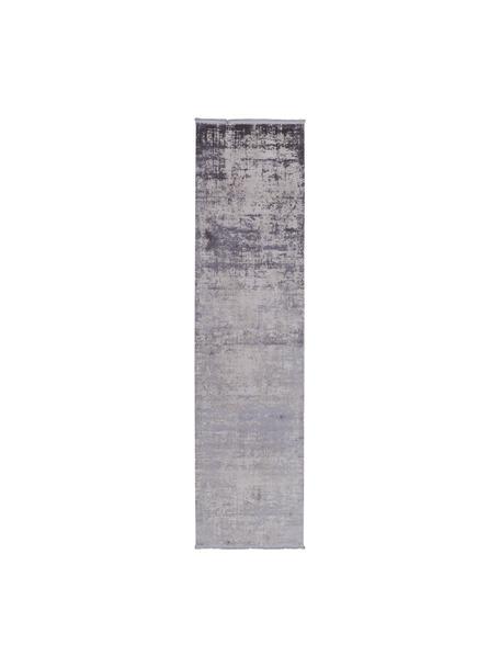Glanzende loper Cordoba in grijstinten met franjes, vintage stijl, Bovenzijde: 70% acryl, 30% viscose, Onderzijde: katoen, Lichtgrijs, donkergrijs, 80 x 300 cm