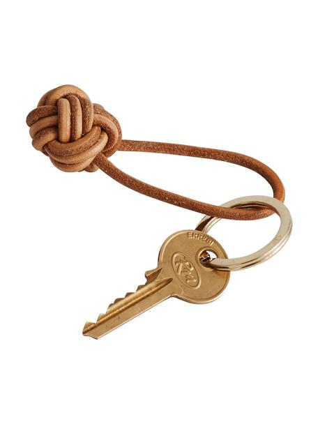 Llavero Knot, Cuero, Marrón, Ø 4 cm