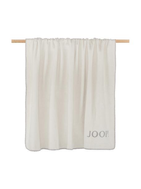 Manta doble cara Melange Doubleface, 58%algodón, 35%poliacrílico, 7%poliéster, Blanco, gris, An 150 x L 200 cm