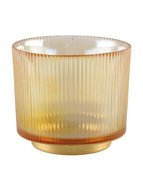 Waxinelichthouder Luster, Glas, metaal, Amberkleurig, transparant, goudkleurig, Ø 10 cm