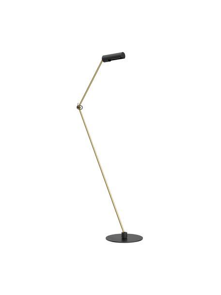 Leselampe Slender in Gold-Schwarz, Lampenschirm: Stahl, beschichtet, Lampenfuß: Stahl, beschichtet, Schwarz, Messingfarben, 36 x 125 cm