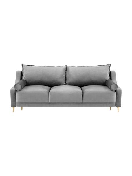 Sofa rozkładana z aksamitu z miejscem do przechowywania Lea (3-osobowa), Tapicerka: aksamit poliestrowy, Nogi: metal malowany proszkowo, Szary, matowy, S 215 x G 94 cm