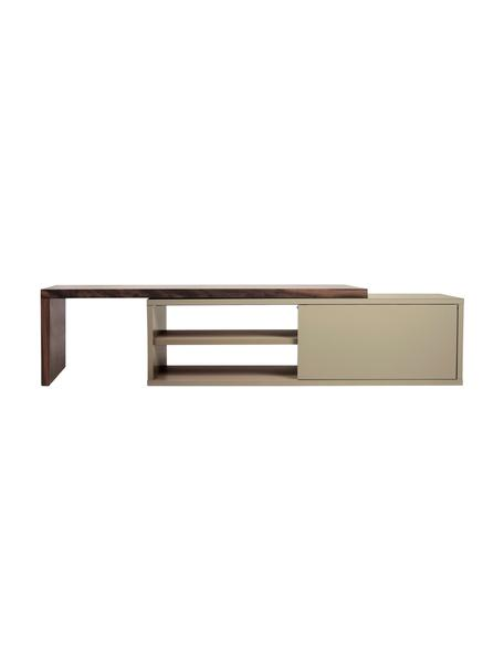 Mueble TV extensible Lieke, Gris, nogal, An 110 - 203 x Al 32 cm