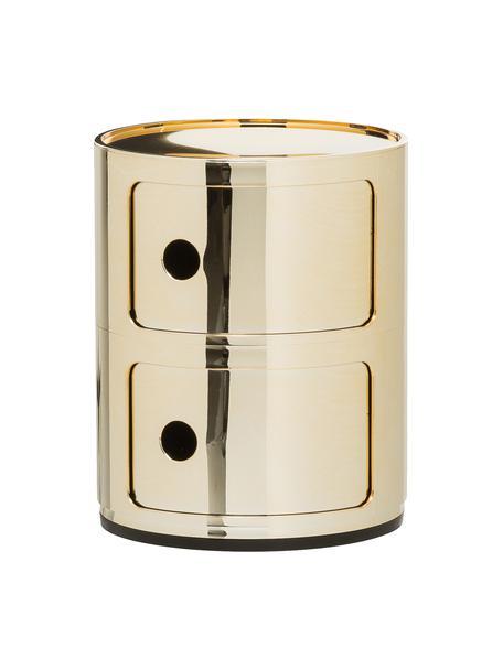 Design bijzettafel Componibile, 3 vakken, Metallic gecoat kunststof, Goudkleurig, Ø 32 x H 40 cm