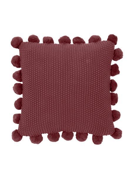 Federa arredo fatta a maglia con pompon Molly, 100% cotone, Rosso, Larg. 40 x Lung. 40 cm