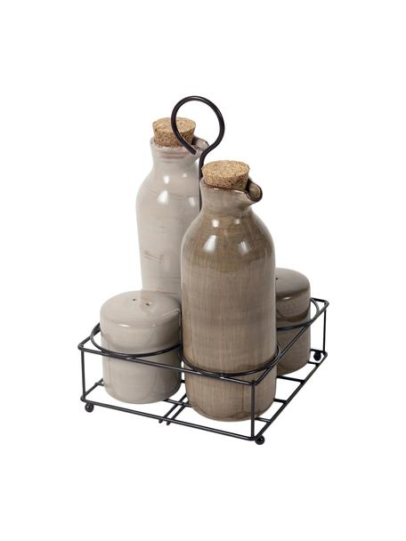 Set olio aceto & saliera pepiera Baita 5 pz, Strainer e dispenser: terracotta, Beige, marrone, Set in varie misure