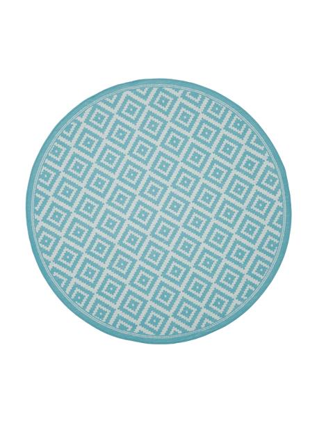 In- & outdoor vloerkleed met patroon Miami in turquoise/wit, 86% polypropyleen, 14% polyester, Wit, turquoise, Ø 140 cm (maat M)