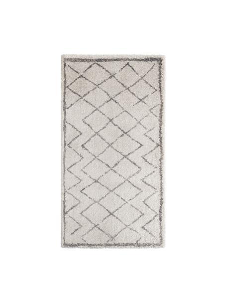 Hochflor-Teppich Luna Diamond mit Rautenmuster, Grau/Creme, Flor: 100% Polypropylen, Creme, Grau, B 80 x L 150 cm (Grösse XS)