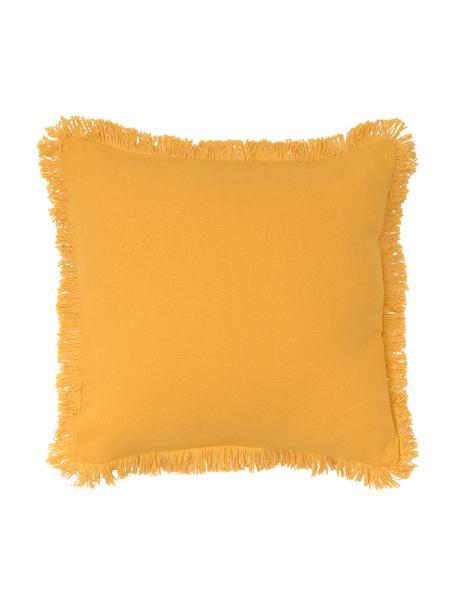 Cuscino con finitura a frange Prague, Retro: cotone, Giallo sole, Larg. 40 x Lung. 40 cm