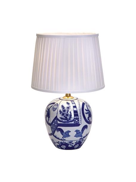 Lámpara de mesa de cerámica Göteborg, Pantalla: poliéster, Azul, blanco, Ø 31 x Al 48 cm