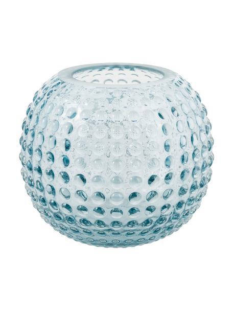 Teelichthalter Flora, Glas, Hellblau, transparent, Ø 11 x H 10 cm