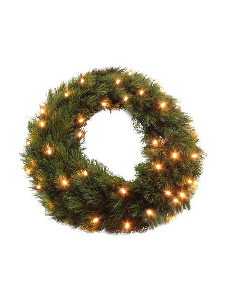 Corona navideña LED Forest, Plástico (PVC), Verde, Ø 45 x Al 10 cm