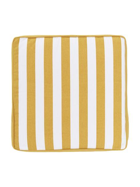 Hohes Sitzkissen Timon in Gelb/Weiss, gestreift, Bezug: 100% Baumwolle, Gelb, 40 x 40 cm