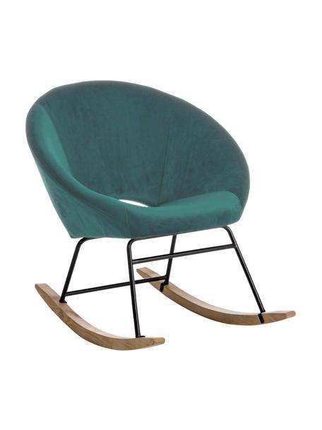 Sedia a dondolo in velluto Annika, Rivestimento: velluto di poliestere 70., Struttura: metallo verniciato a polv, Velluto blu pavone, Larg. 74 x Alt. 87 cm