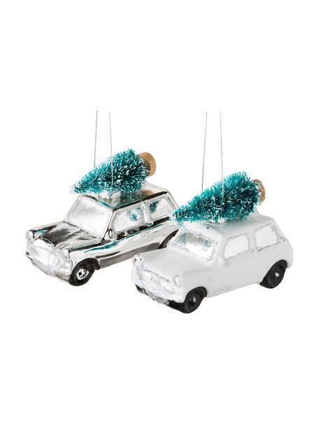 Ozdoba choinkowa Christmas Cars, 2 elem., Szkło, tworzywo sztuczne, Biały, odcienie srebrnego, S 10 x W 7 cm