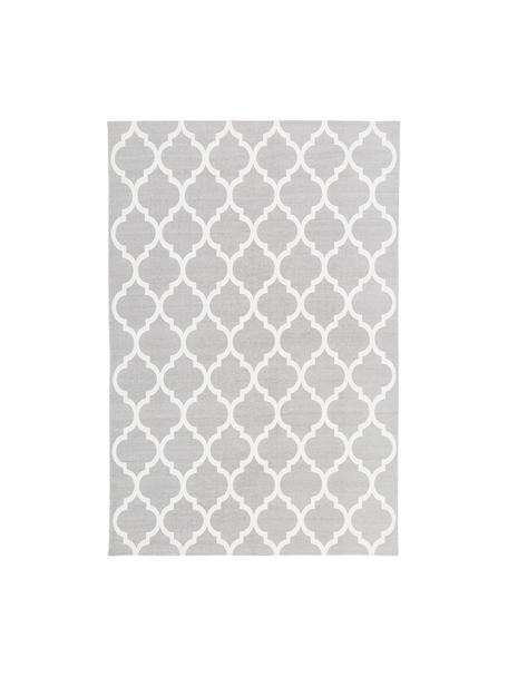 Tappeto in cotone tessuto a mano Amira, 100% cotone, Grigio chiaro, bianco crema, Larg. 120 x Lung. 180 cm (taglia S)