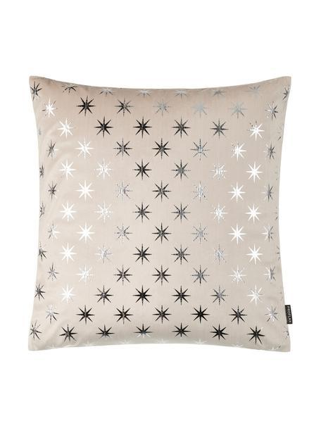 Kissenhülle Cosmos mit silbernen Sternen, Polyester, Sandfarben, Silberfarben, 40 x 40 cm