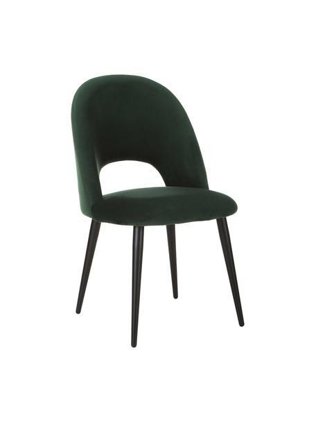 Sedia imbottita in velluto verde scuro Rachel, Rivestimento: velluto (rivestimento in , Gambe: metallo verniciato a polv, Velluto verde scuro, Larg. 53 x Prof. 57 cm