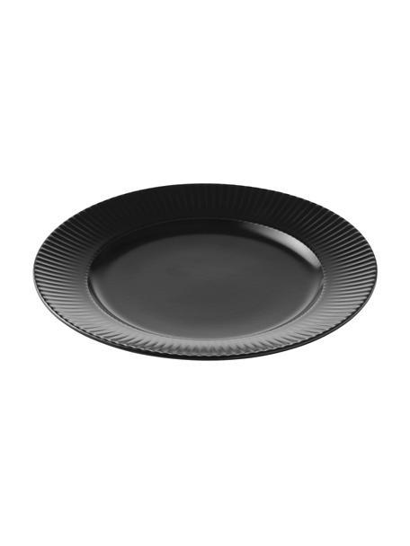 Schwarze Frühstücksteller Groove mit Rillenstruktur, 4 Stück, Steingut, Schwarz, Ø 21 x H 1 cm