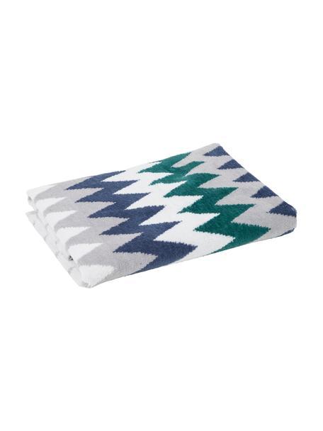 Handtuch Hanneke in verschiedenen Grössen, mit Zickzack-Muster, 100% Baumwolle, Blau, Grau, Weiss, Grün, Handtuch