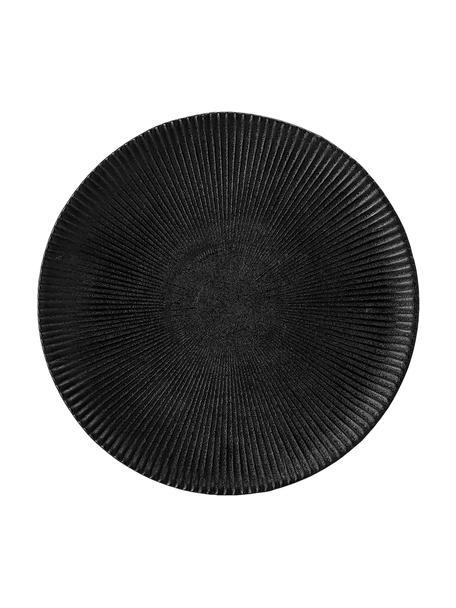 Platos de postre con relieves Neri, 2uds., Gres Con estructura de surcos y superficie ligeramente rugosa, Negro, Ø 23 cm